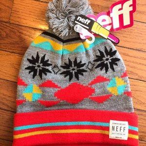 NWT Neff Forever Fun Folded Beanie with Pom